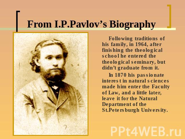 a biography of ivan petrovich pavlov russian doctor Ivan petrovich pavlov (russian: ) (september 14, 1849 - february 27, 1936) was a russian physiologist, psychologist, and physician.
