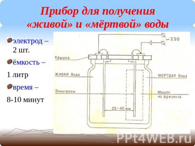 Прибор своими руками для приготовления живой и мертвой воды