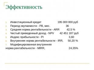 Эффективность Инвестиционный авторитет 095 000 000 руб Период окупаемости - PB, мес