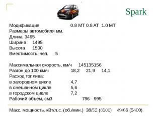 Spark Модификация 0.8 MT0.8 AT1.0 MT Размеры автомобиля мм. Длина3495 Ширина1495