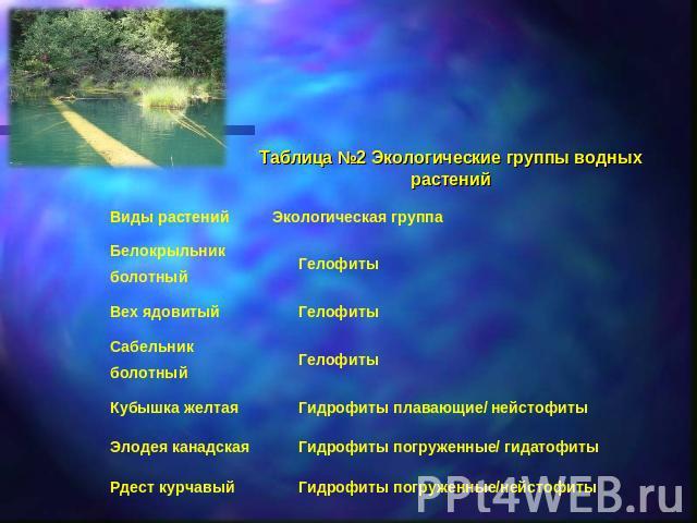Таблица №2 Экологические