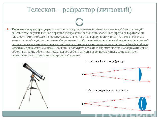 Телескоп-рефрактор содержит