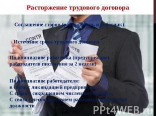 Расторжение трудового договора Соглашение сторон (работодатель да работник) Истеч