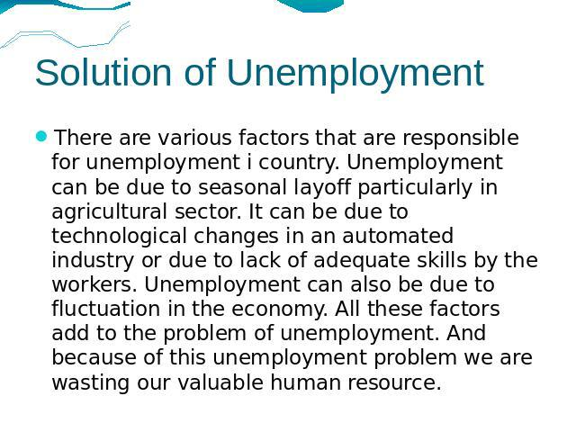 Problem and solution essay about unemployment problem