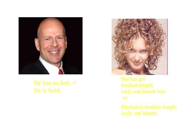 He has no hair. = He is bold. She has got medium length, curly and blonde hair. Her hair is medium length, curly and blonde.