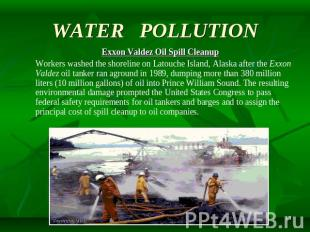 WATER POLLUTION Exxon Valdez Oil Spill Cleanup Workers washed the shoreline on L