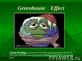 Greenhouse Effect Global Warming, an increase in the earth's temperature due to