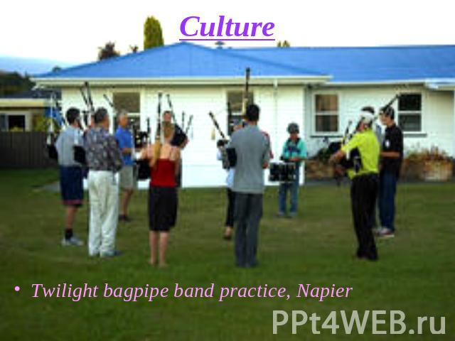 Culture Twilight bagpipe band practice, Napier
