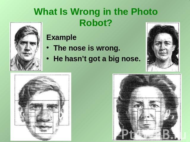What Is Wrong in the Photo Robot? Example The nose is wrong. He hasn't got a big nose.
