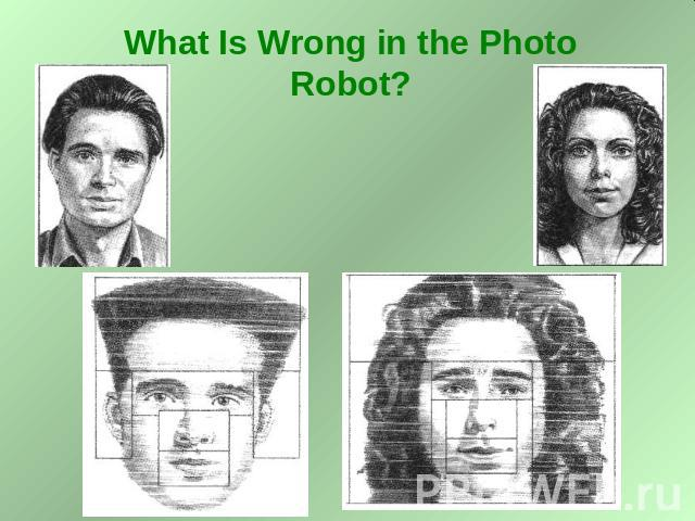 What Is Wrong in the Photo Robot?
