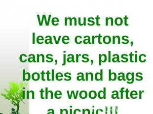 We must not leave cartons, cans, jars, plastic bottles and bags in the wood afte