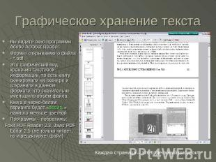 Графическое хранение текста Вы видите окно программы Adobe Acrobat Reader. Форма