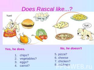 Does Rascal like...? Yes, he does. chips? vegetables? eggs? carrot?No, he doesn'