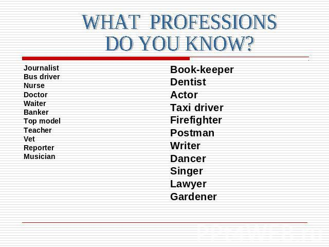 WHAT PROFESSIONSDO YOU KNOW?Journalist Bus driver Nurse Doctor WaiterBankerTop modelTeacherVetReporterMusician Book-keeperDentistActorTaxi driverFirefighter PostmanWriterDancerSingerLawyerGardener