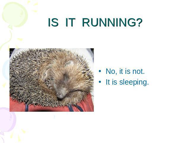 IS IT RUNNING? No, it is not.It is sleeping.