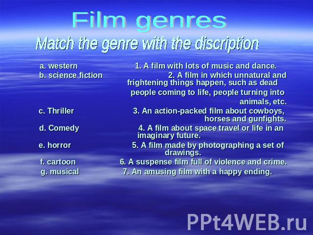 Film genres Match the genre with the discription a. western 1. A film with lots of music and dance.b. science fiction 2. A film in which unnatural and frightening things happen, such as dead people coming to life, people turning into animals, etc.c.…