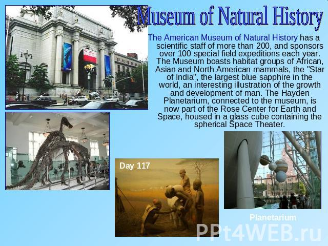 Museum of Natural HistoryThe American Museum of Natural History has a scientific staff of more than 200, and sponsors over 100 special field expeditions each year. The Museum boasts habitat groups of African, Asian and North American mammals, the