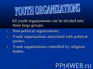 YOUTH ORGANIZATIONS All youth organizations can be divided into three large grou