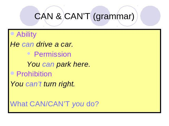CAN & CAN'T (grammar) AbilityHe can drive a car. Permission You can park here.ProhibitionYou can't turn right.What CAN/CAN'T you do?