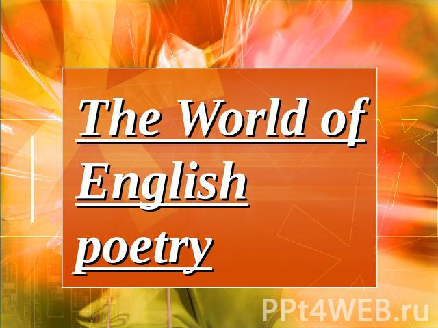 The World of English poetry