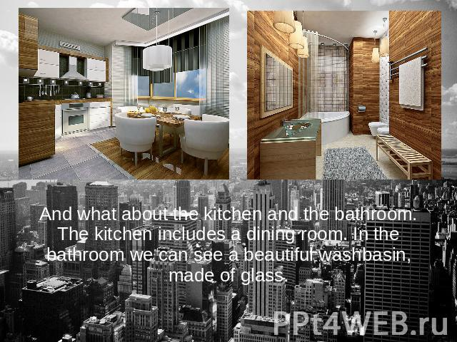 And what about the kitchen and the bathroom. The kitchen includes a dining room. In the bathroom we can see a beautiful washbasin, made of glass.