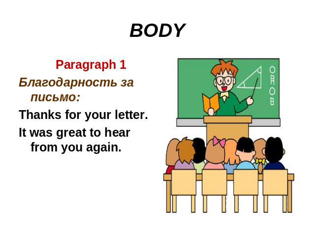 BODY Paragraph 1Благодарность за письмо:Thanks for your letter.It was great to hear from you again.