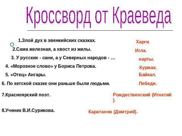 Кроссворд про красноярск с ответами, секс толстой жопа