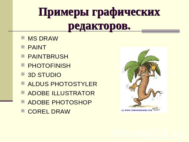 Примеры графических редакторов. MS DRAWPAINTPAINTBRUSHPHOTOFINISH3D STUDIOALDUS PHOTOSTYLERADOBE ILLUSTRATORADOBE PHOTOSHOPCOREL DRAW