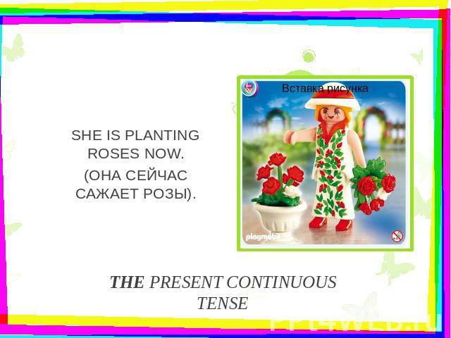 THE PRESENT CONTINUOUS TENSESHE IS PLANTING ROSES NOW.(ОНА СЕЙЧАС САЖАЕТ РОЗЫ).
