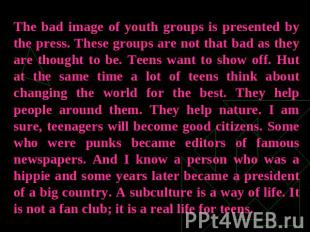 The bad image of youth groups is presented by the press. These groups are not th