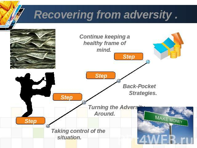 Recovering from adversity . Continue keeping a healthy frame of mind. Back-Pocket Strategies. Turning the Adversity Around. Taking control of the situation.