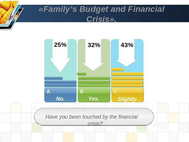 «Family's Budget and Financial Crisis». Have you been touched by the financial crisis?