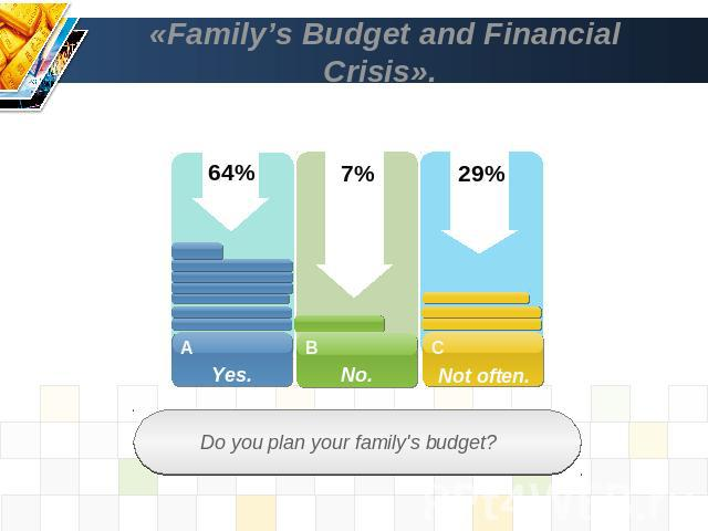 «Family's Budget and Financial Crisis». Do you plan your family's budget?