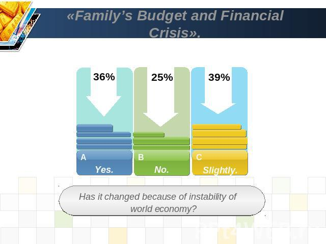 «Family's Budget and Financial Crisis». Has it changed because of instability of world economy?