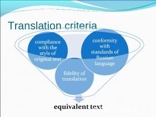 Translation criteria conformity with standards of Russian languagefidelity of tr