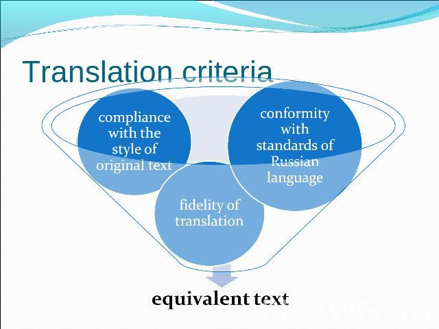 Translation criteria conformity with standards of Russian languagefidelity of translationcompliance with the style of original textequivalent text