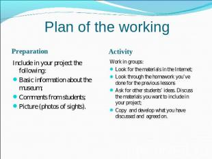 Plan of the working PreparationInclude in your project the following:Basic infor