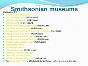 Smithsonian museums Washington, D.C.Anacostia Community Museum Arthur M. Sackler