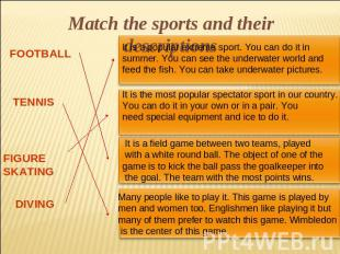 Match the sports and their descriptions
