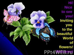 Hi!Nice to see you!Inviting you to the beautiful World of flowers!Welcome!