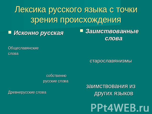 историческое формирование лексико-семантической системы русского языка сказать одно можно