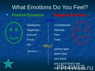 What Emotions Do You Feel? Positive Emotions Negative Emotions I Feel…Satisfacti