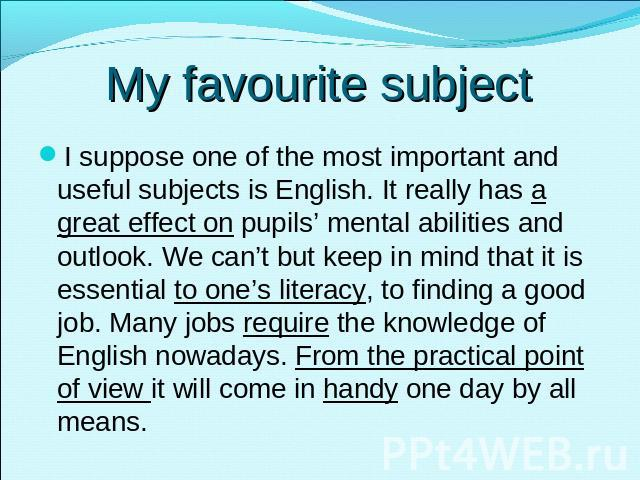 Essay Writing My Favourite Subject English