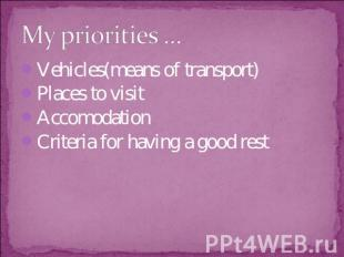 My priorities … Vehicles(means of transport)Places to visitAccomodationCriteria