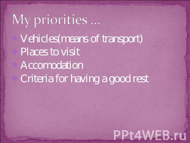 My priorities … Vehicles(means of transport)Places to visitAccomodationCriteria for having a good rest