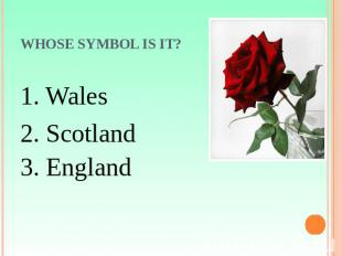 Whose symbol is it? 1. Wales2. Scotland3. England