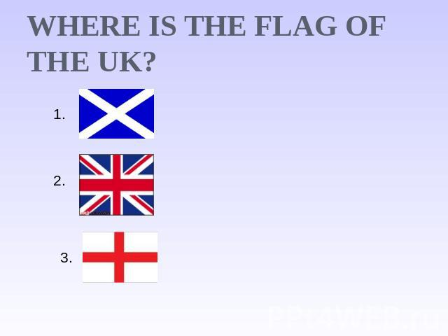 Where is the flag of the UK?
