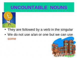 UNCOUNTABLE NOUNS They are followed by a verb in the singularWe do not use a/an