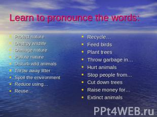 Learn to pronounce the words: Protect natureDestroy wildlifeDamage naturePollute
