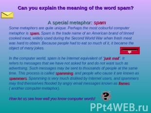 Can you explain the meaning of the word spam? A special metaphor: spam Some meta